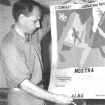 Asger Jorn holds a poster for the First World Congress of Liberated Artists