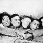 Severed heads at Nanking. No genuinely representative photograph of the genuinely shocking Nanking atrocities were deemed suitable for this entry. It is not the policy of On This Deity to illustrate atrocities with any matter that could be deemed pornographic in its grotesqueness.