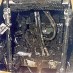 The incinerated command module of Apollo 1