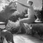 Joan Root and friends: a fox, a hippo and an aardvark. (Photo by Alan Root)