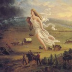 John Gast&#039;s interpretation of Manifest Destiny, with Columbia – the personification of the United States – guiding and protecting western settlers whist driving Native Americans and bison into obscurity